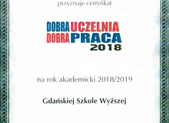 Certyfikat Dobra uczelnia Dobra praca