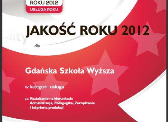 Certyfikat Jakość roku 2012